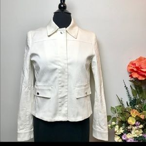 Zara white stretch cotton blazer